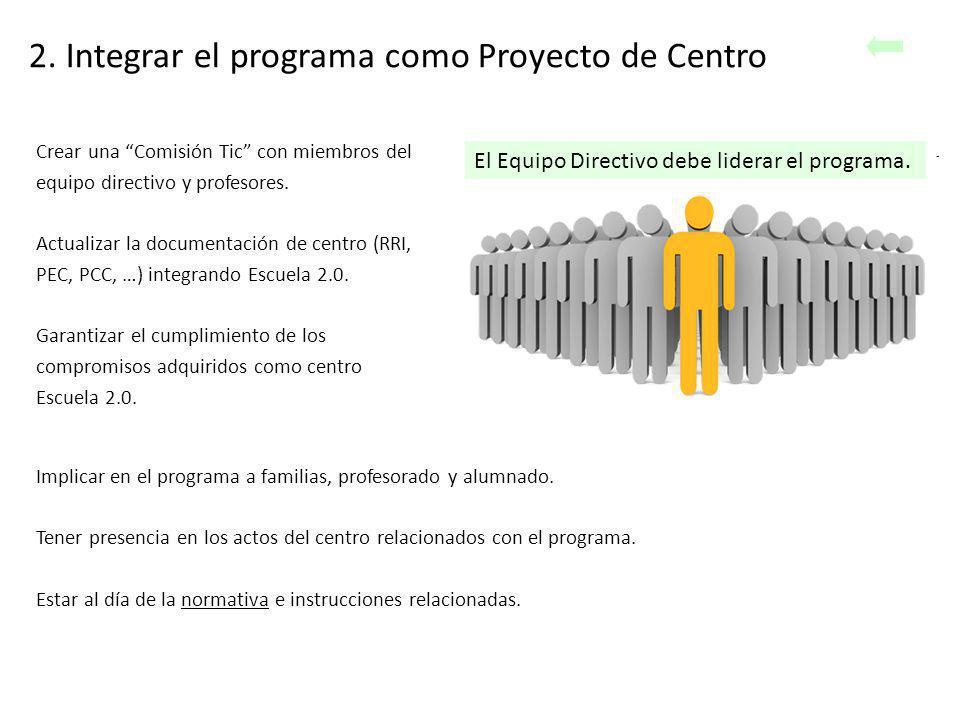 2. Integrar el programa como Proyecto de Centro