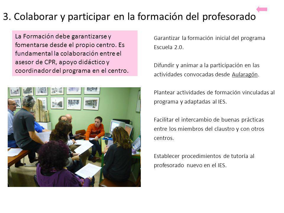 3. Colaborar y participar en la formación del profesorado