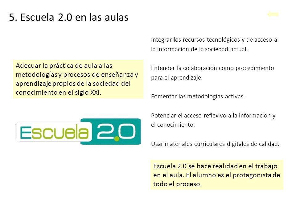 5. Escuela 2.0 en las aulas Integrar los recursos tecnológicos y de acceso a. la información de la sociedad actual.