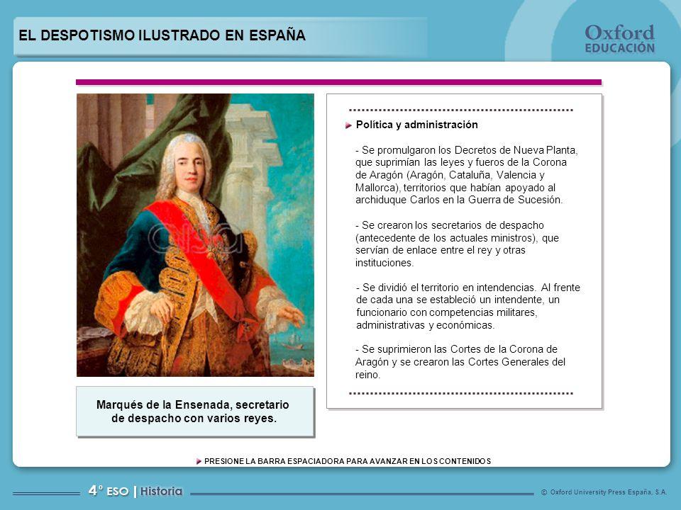 Marqués de la Ensenada, secretario de despacho con varios reyes.
