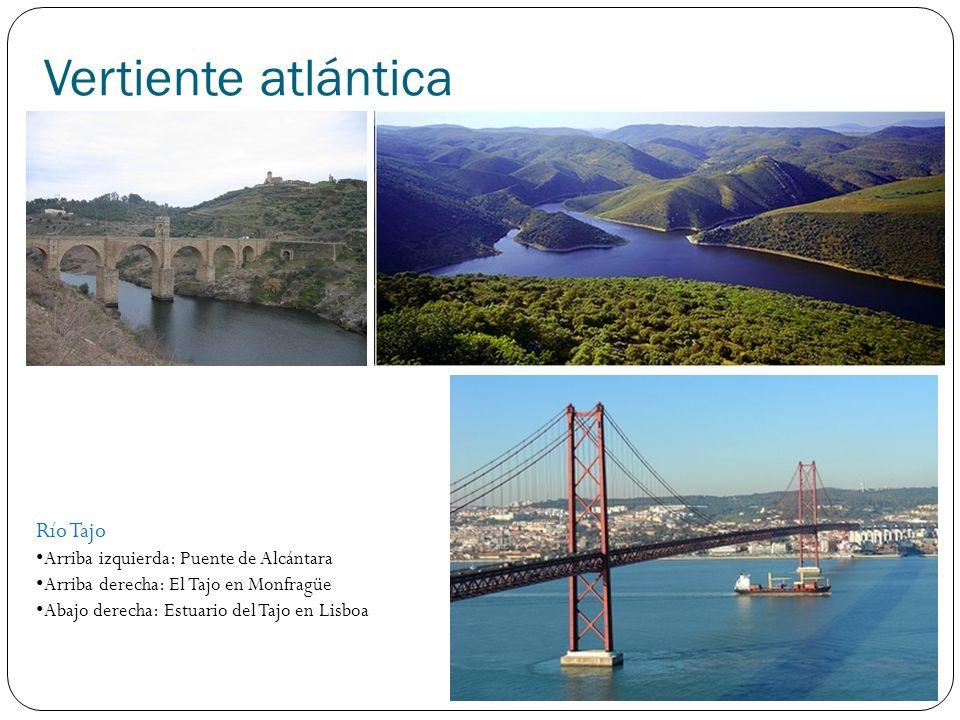 Vertiente atlántica Río Tajo Arriba izquierda: Puente de Alcántara