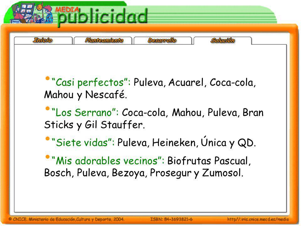 Casi perfectos : Puleva, Acuarel, Coca-cola, Mahou y Nescafé.