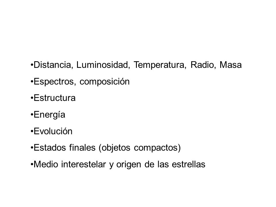 Distancia, Luminosidad, Temperatura, Radio, Masa