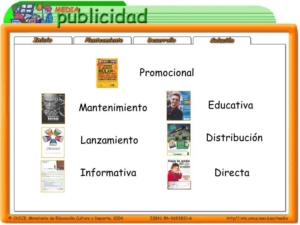 Promocional Educativa Mantenimiento Distribución Lanzamiento Informativa Directa