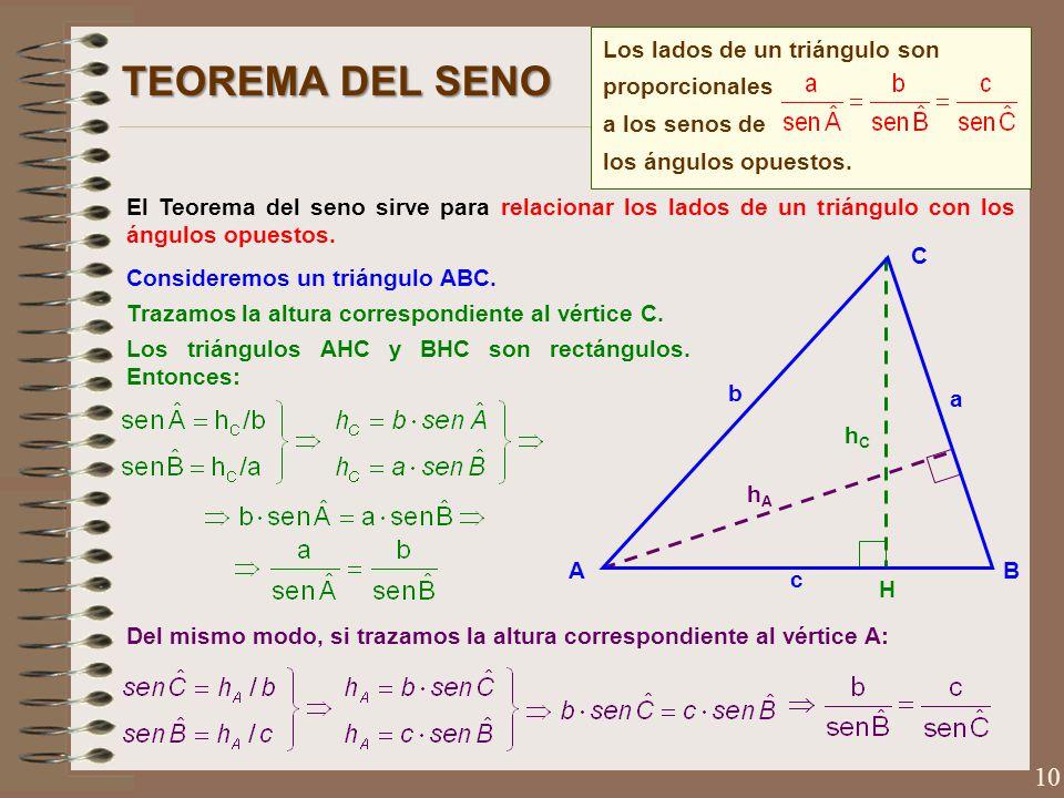 TEOREMA DEL SENO Los lados de un triángulo son proporcionales