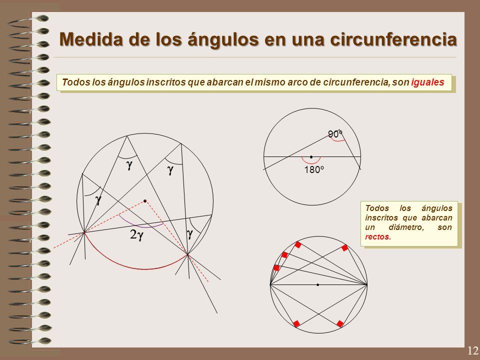 Medida de los ángulos en una circunferencia