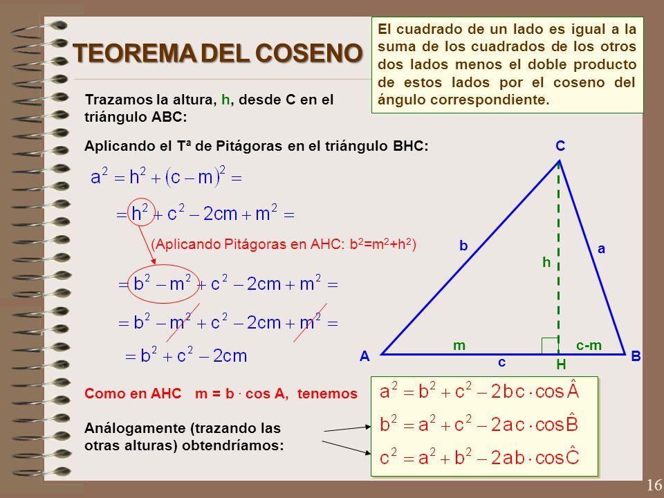 El cuadrado de un lado es igual a la suma de los cuadrados de los otros dos lados menos el doble producto de estos lados por el coseno del ángulo correspondiente.