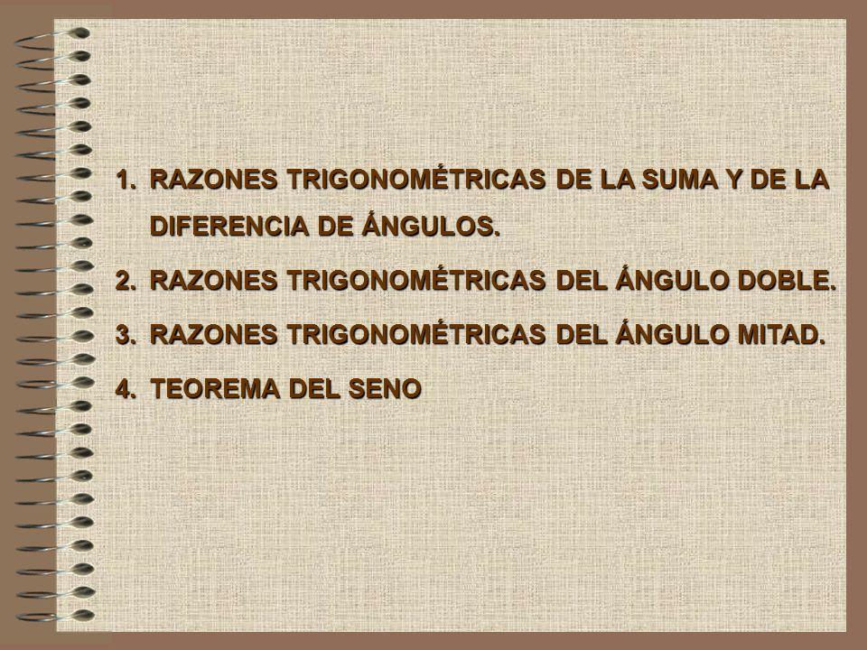 RAZONES TRIGONOMÉTRICAS DE LA SUMA Y DE LA DIFERENCIA DE ÁNGULOS.