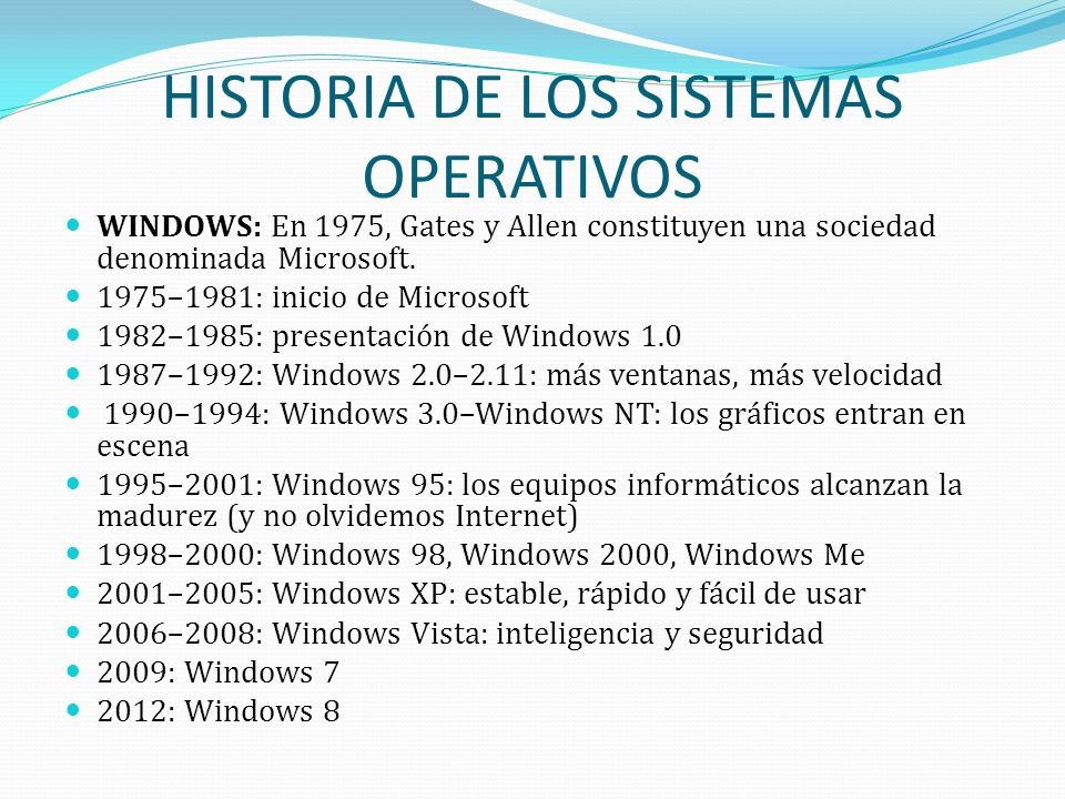 HISTORIA DE LOS SISTEMAS OPERATIVOS