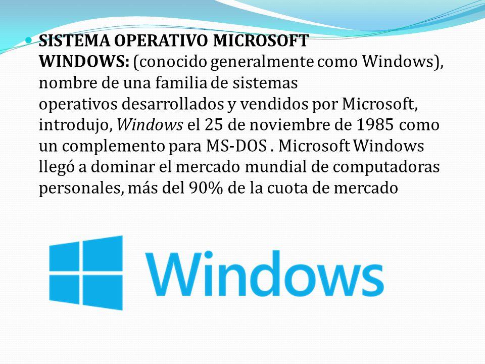 SISTEMA OPERATIVO MICROSOFT WINDOWS: (conocido generalmente como Windows), nombre de una familia de sistemas operativos desarrollados y vendidos por Microsoft, introdujo, Windows el 25 de noviembre de 1985 como un complemento para MS-DOS . Microsoft Windows llegó a dominar el mercado mundial de computadoras personales, más del 90% de la cuota de mercado