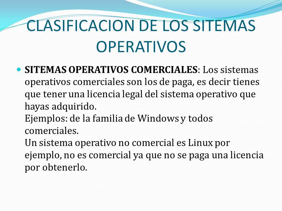 CLASIFICACION DE LOS SITEMAS OPERATIVOS