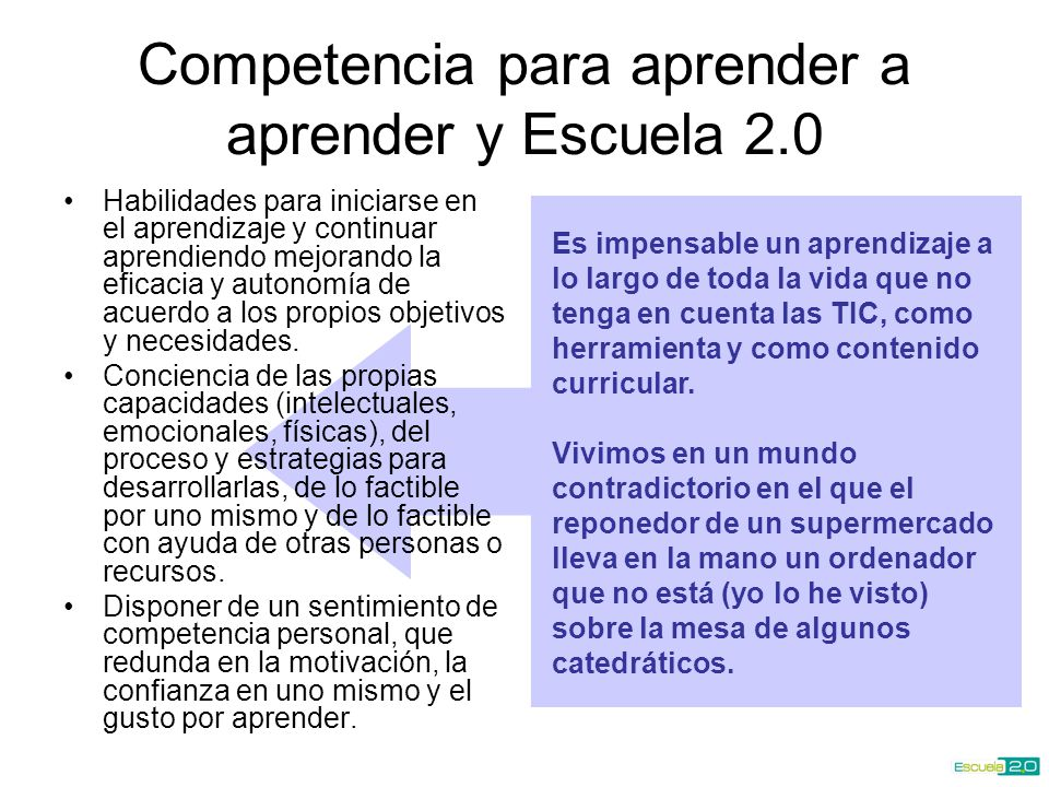 Competencia para aprender a aprender y Escuela 2.0
