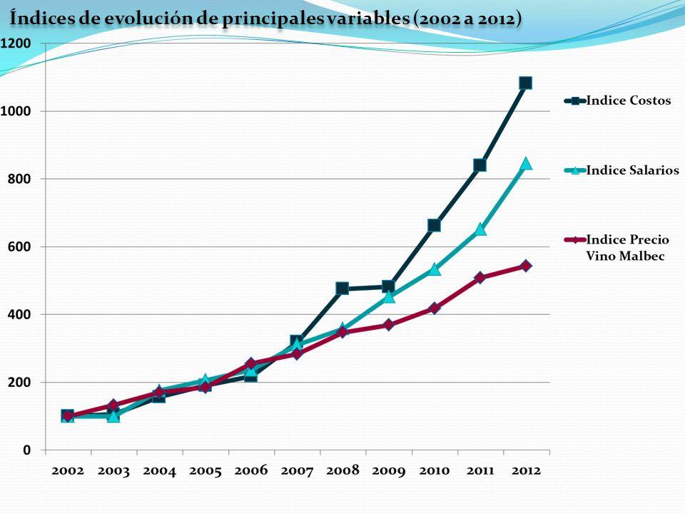 Índices de evolución de principales variables (2002 a 2012)