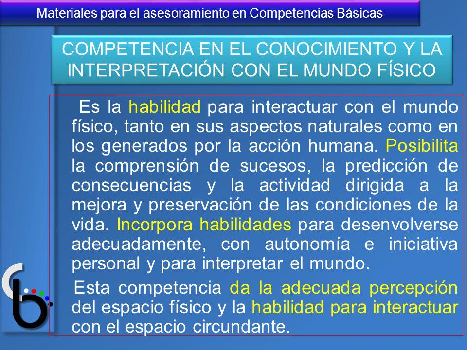 COMPETENCIA EN EL CONOCIMIENTO Y LA INTERPRETACIÓN CON EL MUNDO FÍSICO
