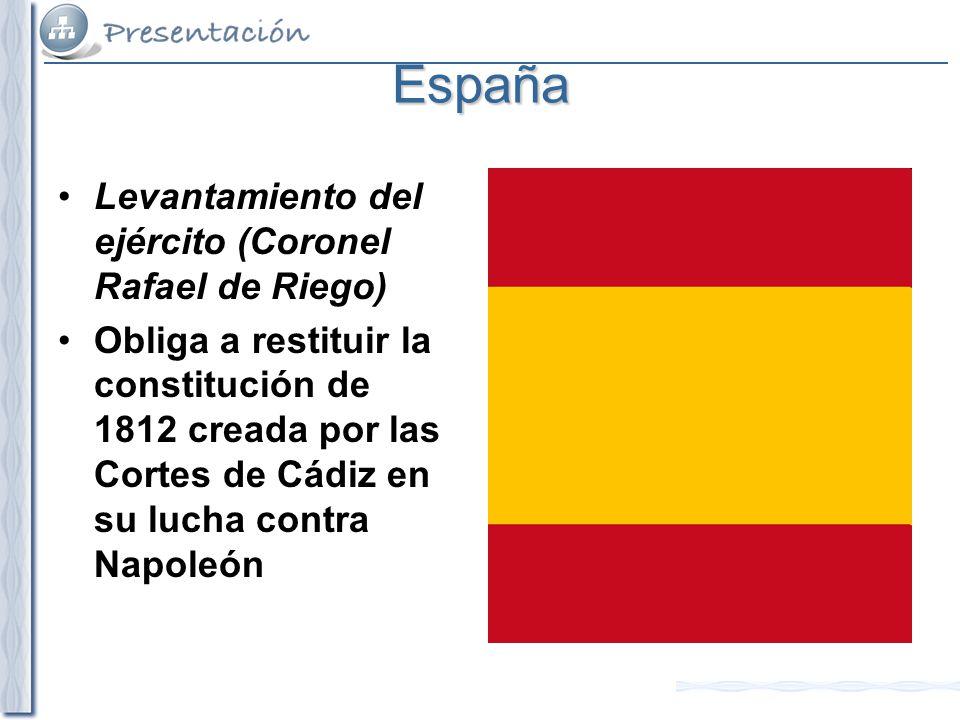 España Levantamiento del ejército (Coronel Rafael de Riego)