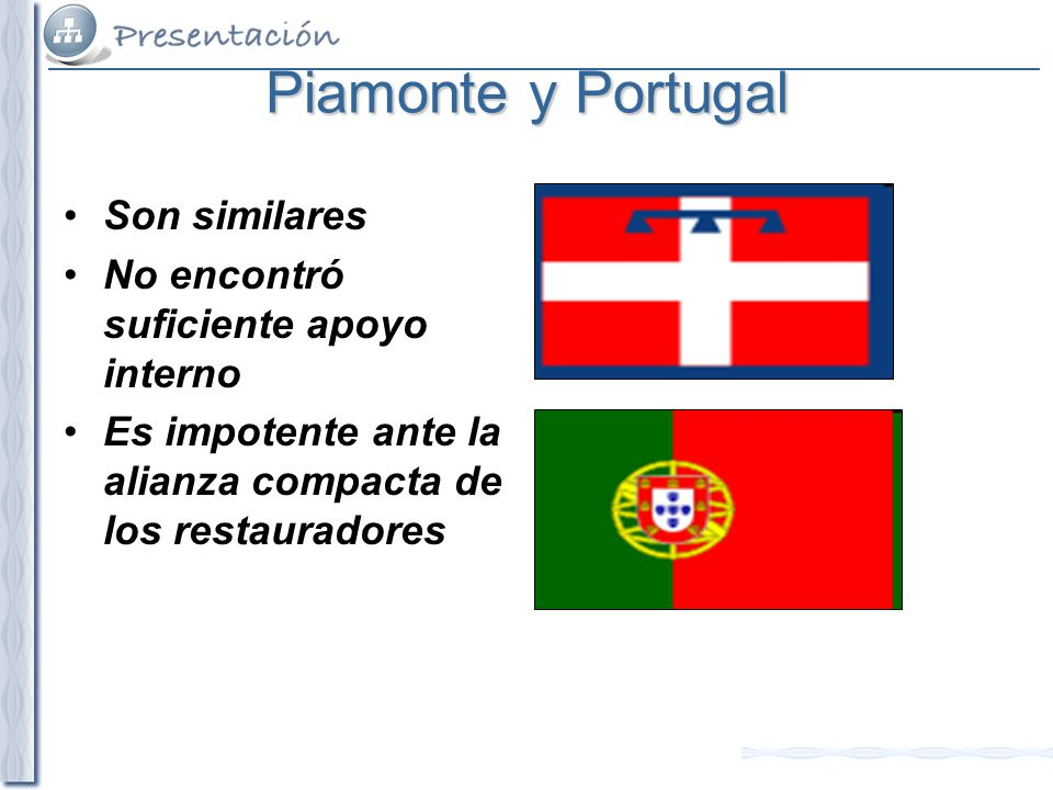 Piamonte y Portugal Son similares No encontró suficiente apoyo interno