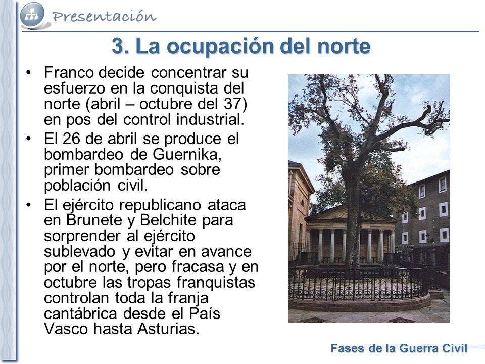 3. La ocupación del norte Franco decide concentrar su esfuerzo en la conquista del norte (abril – octubre del 37) en pos del control industrial.