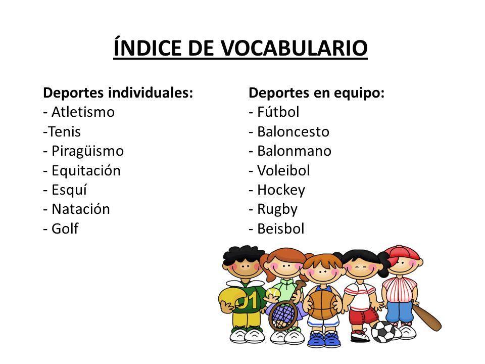 ÍNDICE DE VOCABULARIO