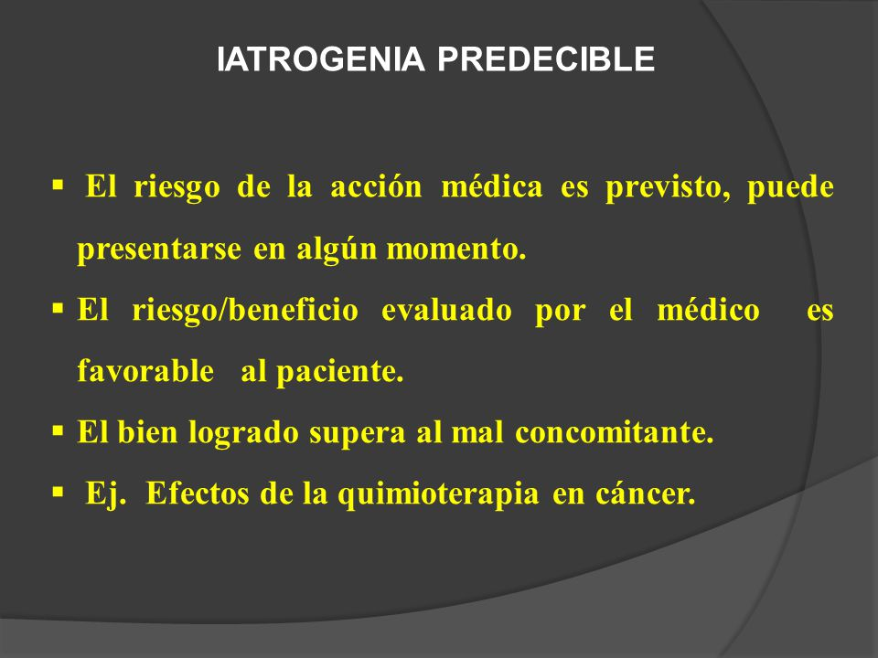 IATROGENIA PREDECIBLE