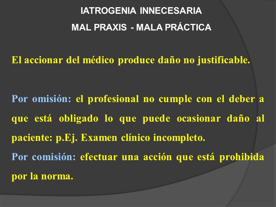 IATROGENIA INNECESARIA MAL PRAXIS - MALA PRÁCTICA