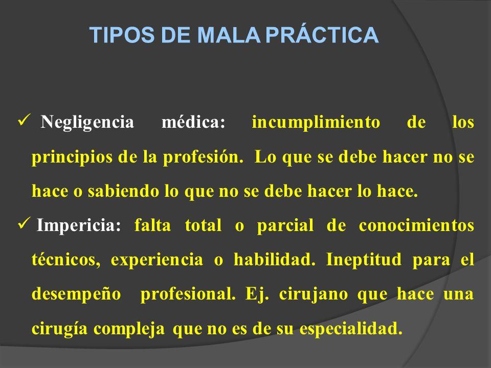 TIPOS DE MALA PRÁCTICA