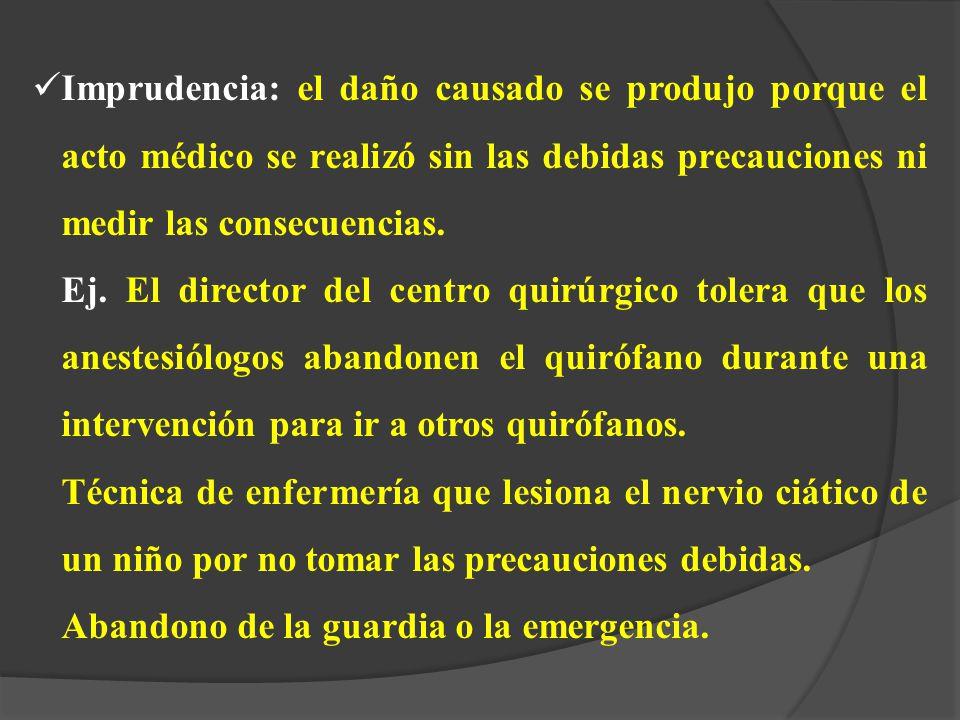 Imprudencia: el daño causado se produjo porque el acto médico se realizó sin las debidas precauciones ni medir las consecuencias.