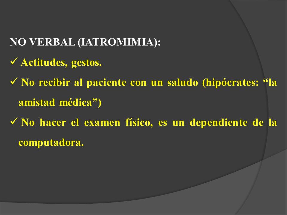 NO VERBAL (IATROMIMIA):