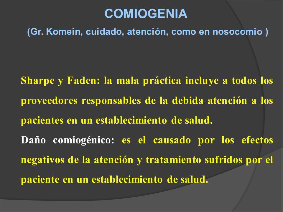 (Gr. Komein, cuidado, atención, como en nosocomio )