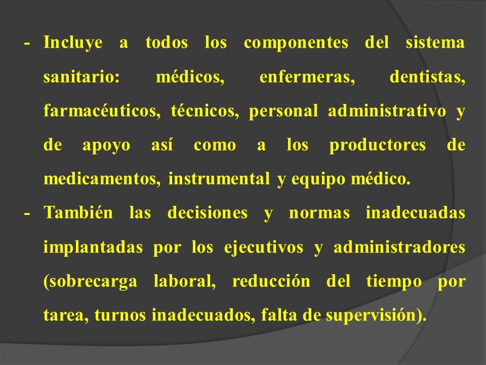 - Incluye a todos los componentes del sistema sanitario: médicos, enfermeras, dentistas, farmacéuticos, técnicos, personal administrativo y de apoyo así como a los productores de medicamentos, instrumental y equipo médico.