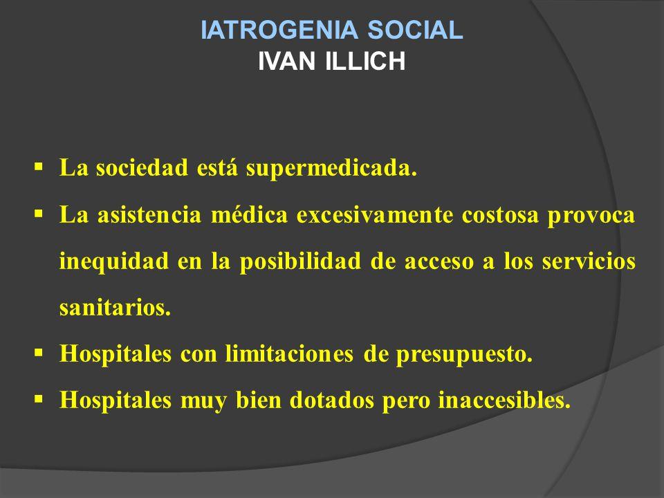 IATROGENIA SOCIAL IVAN ILLICH. La sociedad está supermedicada.