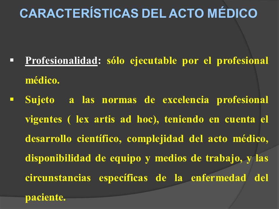 CARACTERÍSTICAS DEL ACTO MÉDICO