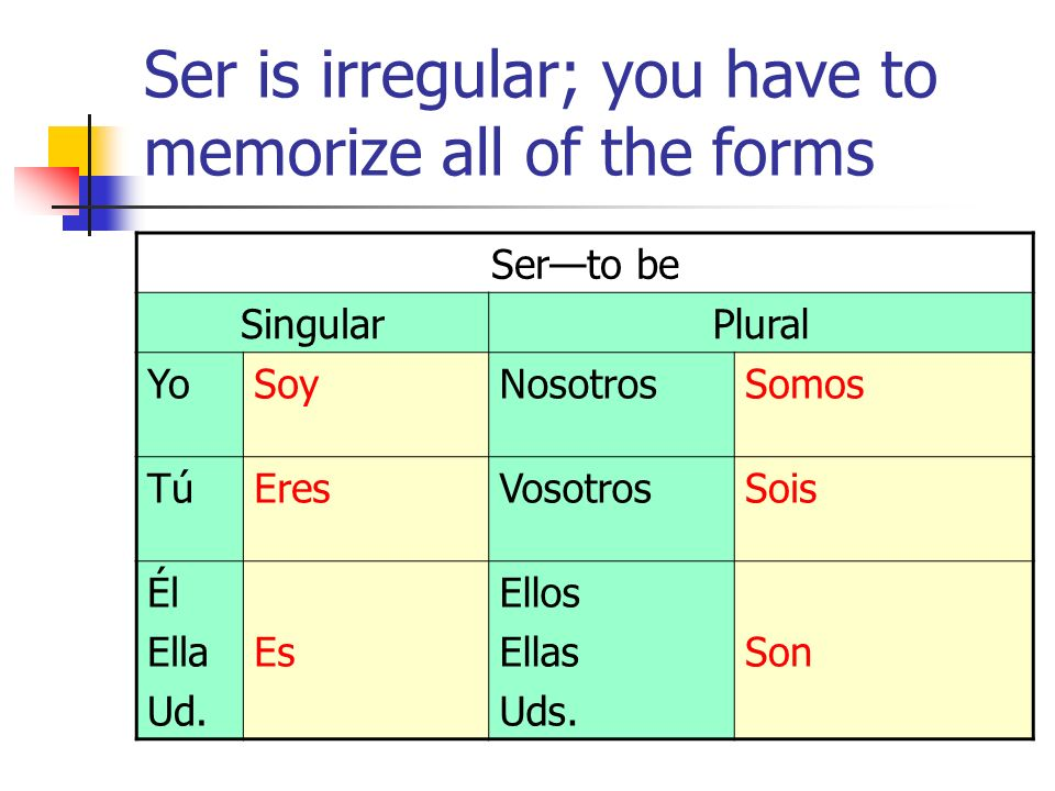 Ser is irregular; you have to memorize all of the forms