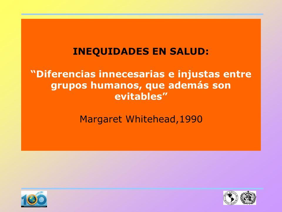 INEQUIDADES EN SALUD: Diferencias innecesarias e injustas entre grupos humanos, que además son evitables Margaret Whitehead,1990