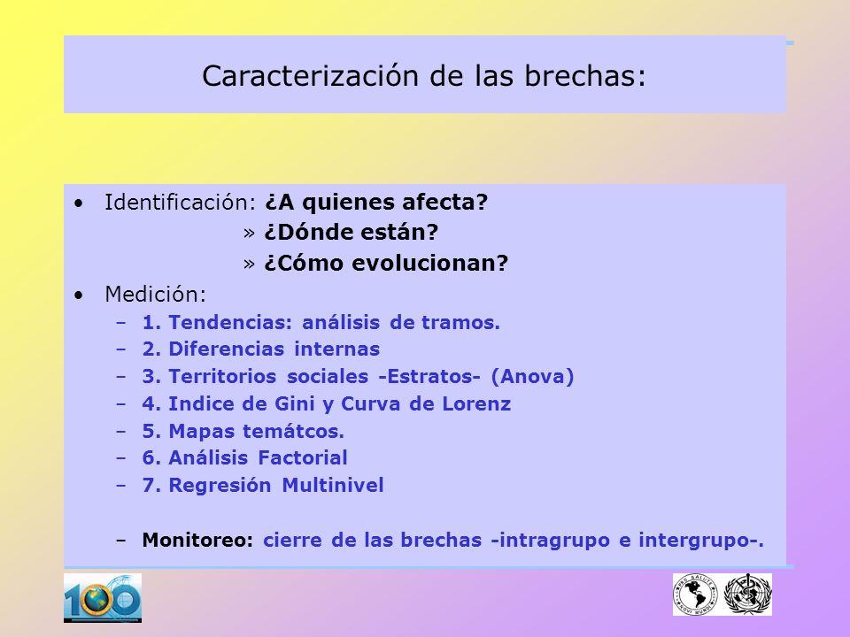 Caracterización de las brechas: