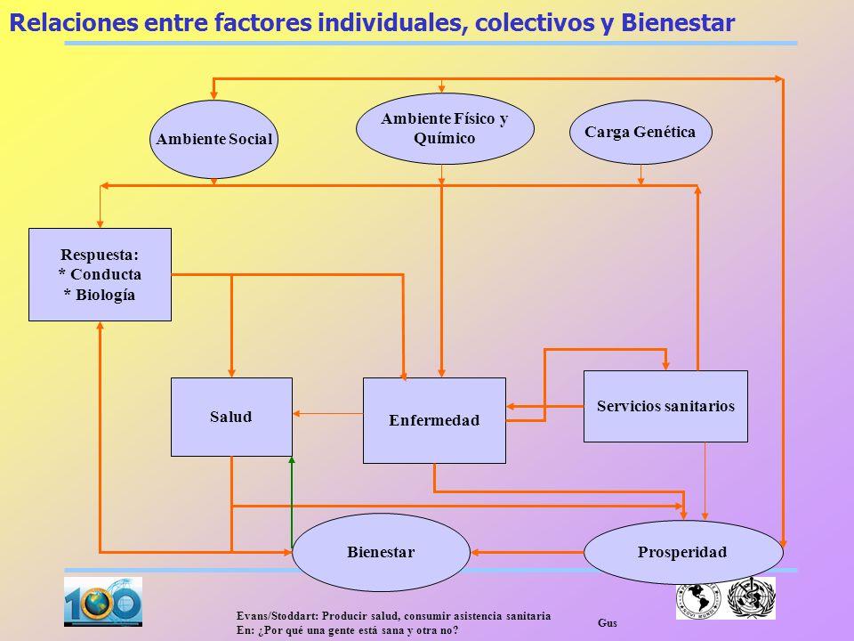 Relaciones entre factores individuales, colectivos y Bienestar