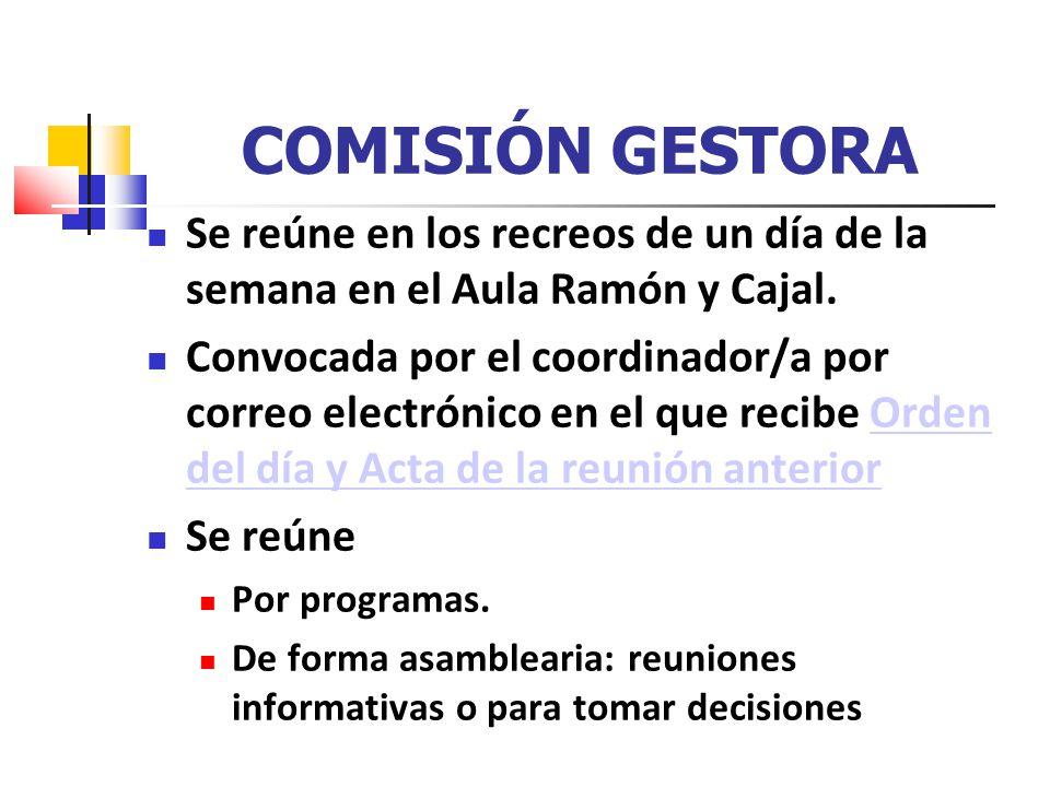 COMISIÓN GESTORA Se reúne en los recreos de un día de la semana en el Aula Ramón y Cajal.