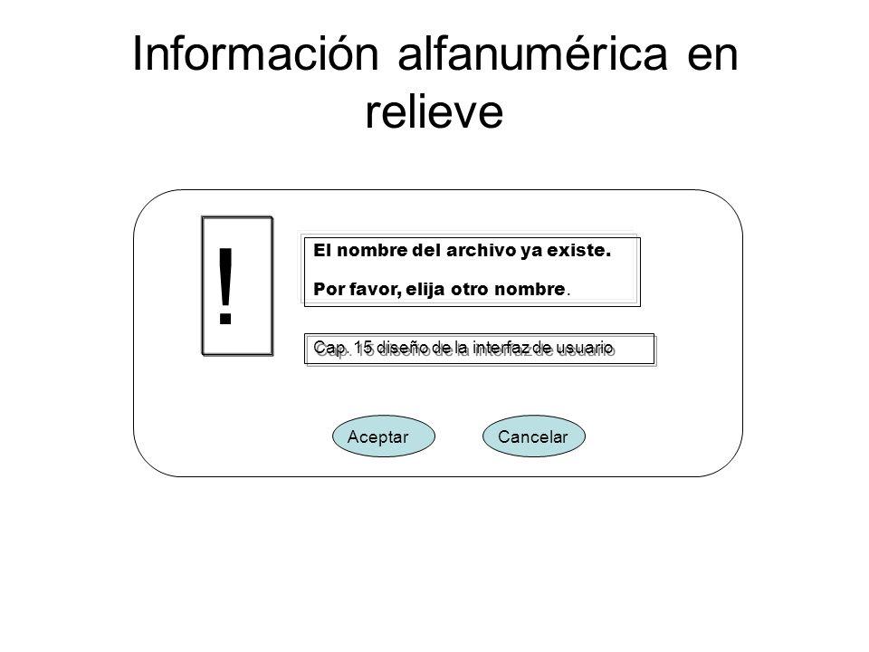 Información alfanumérica en relieve