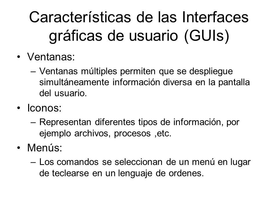 Características de las Interfaces gráficas de usuario (GUIs)