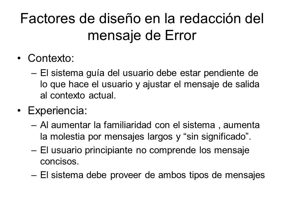 Factores de diseño en la redacción del mensaje de Error
