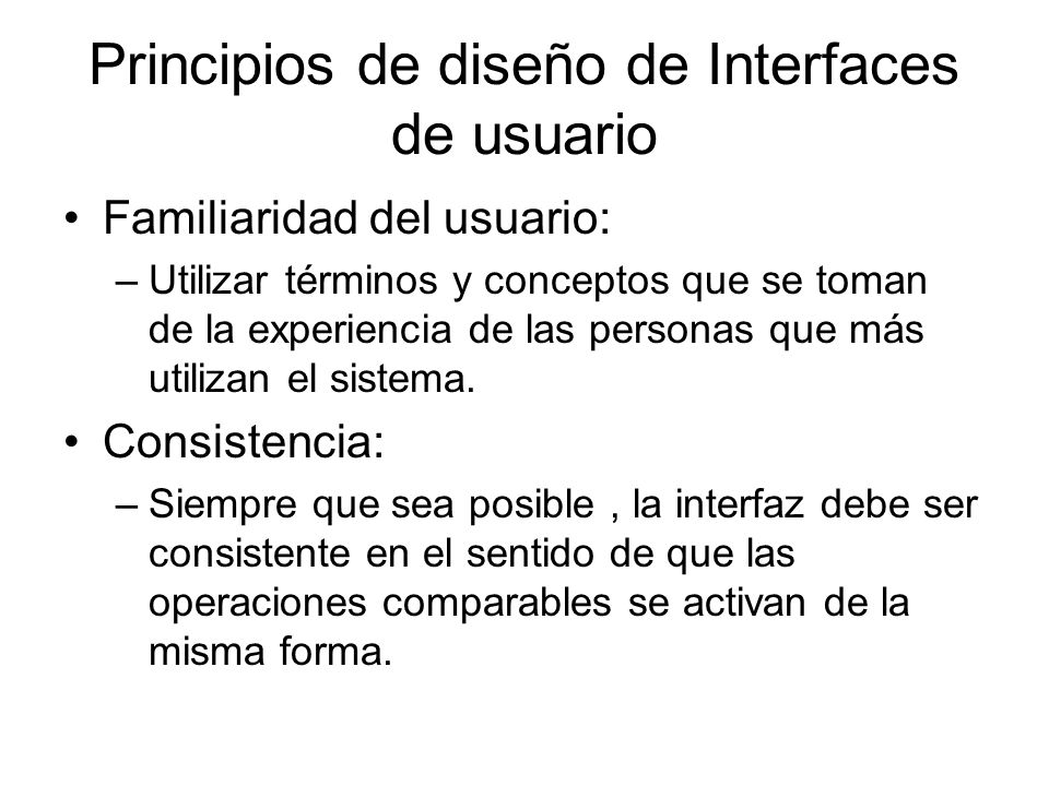 Principios de diseño de Interfaces de usuario
