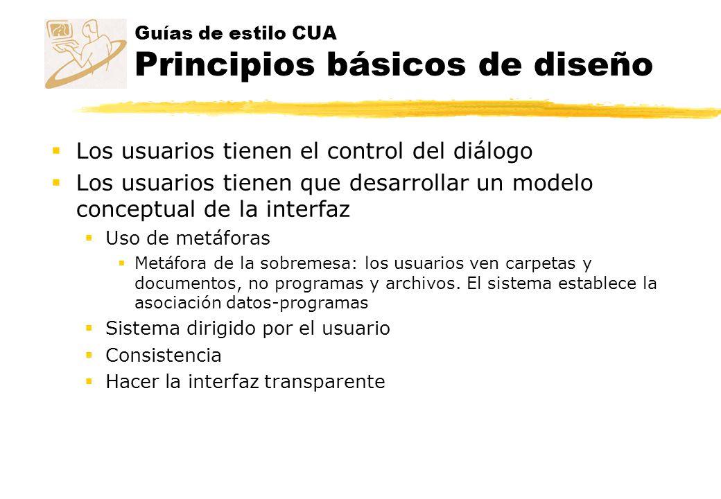Guías de estilo CUA Principios básicos de diseño