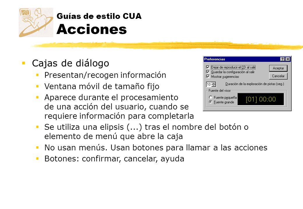 Guías de estilo CUA Acciones
