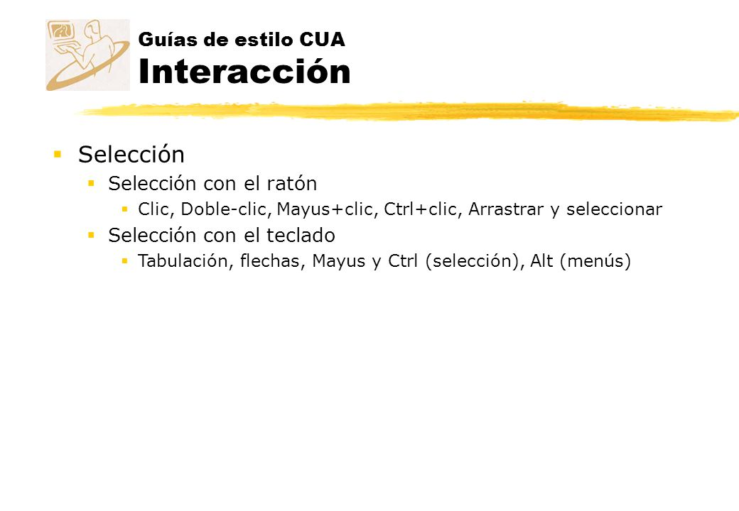 Guías de estilo CUA Interacción