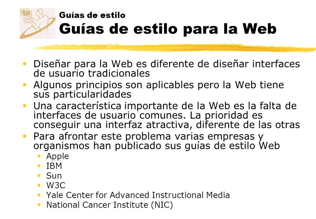 Guías de estilo Guías de estilo para la Web