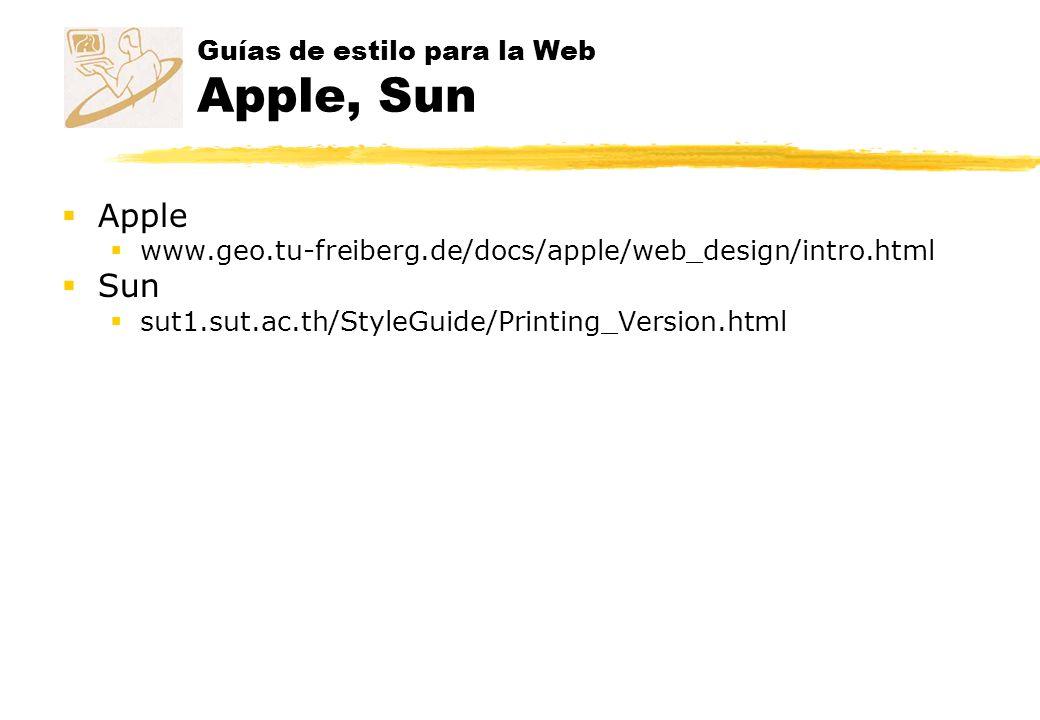 Guías de estilo para la Web Apple, Sun