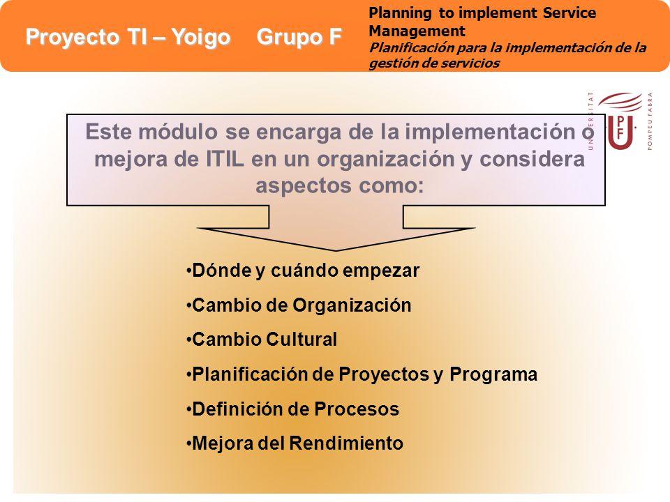 Planning to implement Service Management Planificación para la implementación de la gestión de servicios
