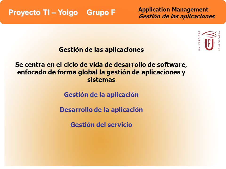 Application Management Gestión de las aplicaciones