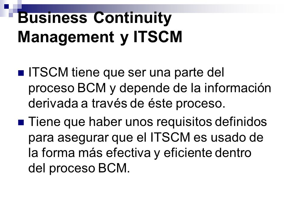 Business Continuity Management y ITSCM