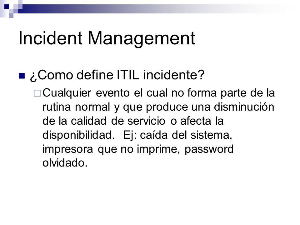 Incident Management ¿Como define ITIL incidente