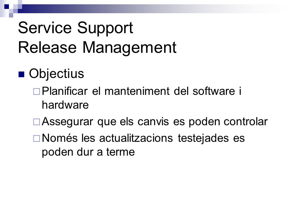 Service Support Release Management